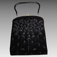 Vintage Soure' 50's Black Velvet & Jet Beaded Purse Bag-Cascading Leaves Design