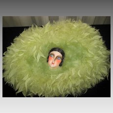 1920's Marabou Feather Boudoir Deco Doll Face Lingerie Pillow in Light Lime Green