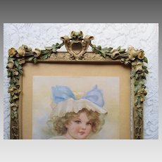 1930's Barbola Gesso Frame w/Rare Muted Roses & Flowers