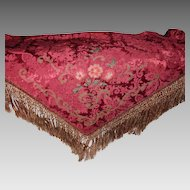 Antique French Damask Piano Shawl/Table Cover with Metallic Trim, Silky Flowers & Heavy Hand Knotted Fringe