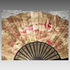 Huge Antique French Linen Fan w/Children and Dog