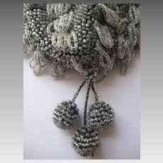 1920's Glass Hand Beaded Purse with 3 Beaded Dangles-Clear Beads Against Black Knit