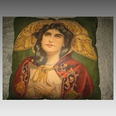 "RARE 1900's Signed Maxine Elliott ""The Merchant of Venice"" Litho Pillow w/Sequins"