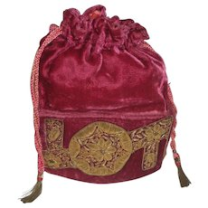 1920's Raspberry Color Velvet Draw String Purse with Heavy Gold Metallic Detail, Possibly French