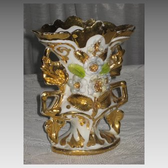 C. 1800's French Porcelain Wedding Vase w/Raised Flowers & Gold Gilt