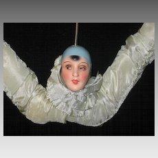 Art Deco Lady Head Blue Satin Bendable Clothes Hanger