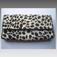 1980's Carlos Falchi Calf Fur Convertible Shoulder Clutch Purse-Never Used