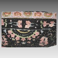 Vintage Josef Hand Beaded in France Black Beaded Tambour Embroidered Clutch Purse