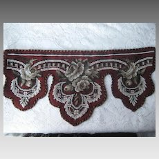 Antique Beaded & Needlepoint Roses Pelmet Valance-Burgundy