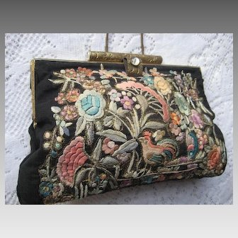 1920s Chinese Silk Embroidered Purse by LKW