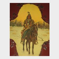 Antique Celluloid Photo Album of Native American on Horseback with Rifle in Winter Scene
