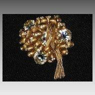 "Vintage Brooch with Gold ""Balls"", Rhinestones & Mesh Dangles"