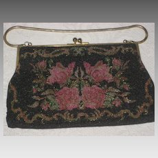 Vintage Josef Hand Beaded in France Steel Beaded Floral Purse