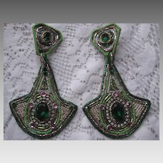 Vintage 1980's Beaded & Rhinestone Clip Earrings by Bradley