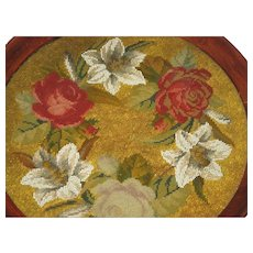 Antique Beaded Needlepoint Tea Tray w/Red Roses & Handles