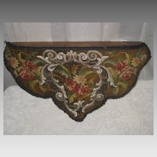 Antique Beaded Needlepoint Valance Wall Shelf