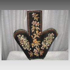 Antique Embroidered Velvet Slipper Holder
