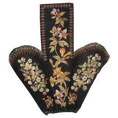 Antique Embroidered Velvet Slipper Holder