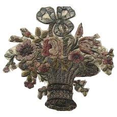 Antique French Chenille & Metallic Appliqué Flower Basket w/Bow-Huge