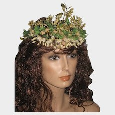 Antique French Wax Wedding Tiara with Myrtle Leaves & Fabric Flowers