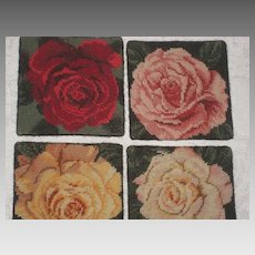 Four Vintage Handmade Needlepoint Rose Coasters