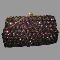 Vintage Josef Hand Beaded in France Sequin Purse-Never Used
