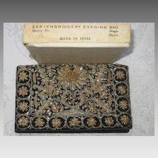 1930's Clutch Purse w/Silver & Gold Embroidery Hand Stitched-Original Box