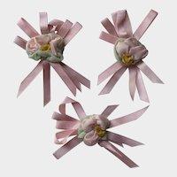 C. 1930's Ribbon Work Lingerie Pins-Three
