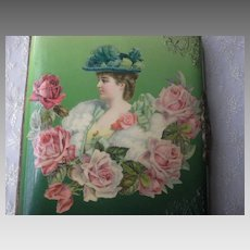 Antique Celluloid Photo Album w/Lady & Roses