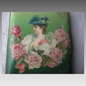 Antique Celluloid Photo Album w/Lady & Roses