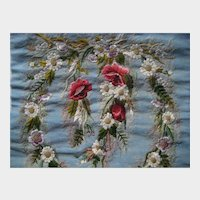 Antique Embroidered Floral Banner Face Screen