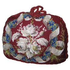 Antique Roses Beaded & Needlepoint Tea Cozy-Never Used