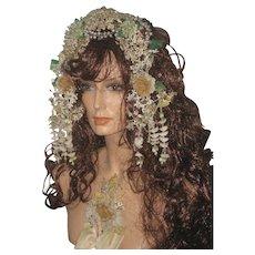2 Piece Antique French Wedding Tiara w/Tendrils & Corsage