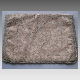 1930's Carlin Comforts Tambour Net Lace Lingerie Holder