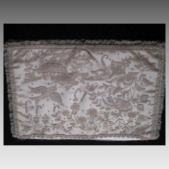 1930's Carlin Comforts Tambour Net Lace Lingerie Holder w/ Birds/Nest