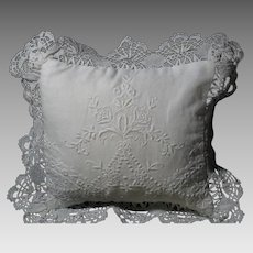 Vintage Paper White Hand Embroidery & Lace Wedding Ring Pillow
