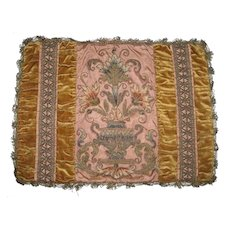 Antique French Velvet Metallic Chenille Pillow Top W/Urn