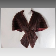 Vintage Mink Stole with Criss-Cross Front