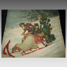 Antique 1902 Christmas Chromolithograph 3 Ladies on Sleigh