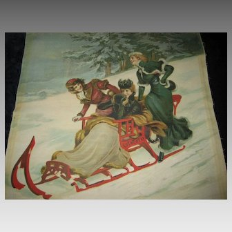 Antique 1902 Christmas Chromolithograph 3 Ladies on Sleigh