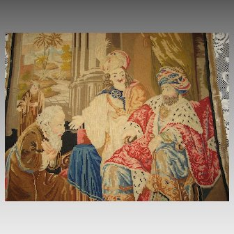 Antique Religious Wool Tapestry