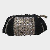 Vintage French Heavily Jeweled Black Velvet Clutch-Never Used