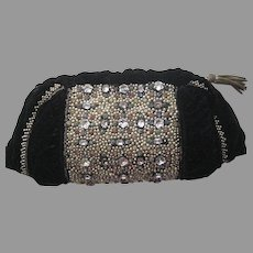 Vintage French Heavily Jeweled Black Velvet Clutch-Never Used