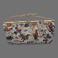 Vintage Chinese Purse with Beaded & Tambour Embroidered Figures & Flowers-Unused