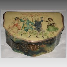 Victorian Celluloid Box w/Dancing Children in Georgian Attire