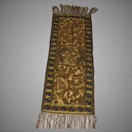 1920's Hungarian Matyo Silk Hand Embroidered Long Runner with Fringe