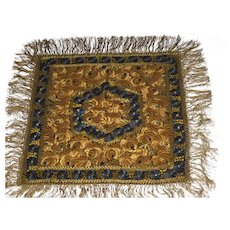 1920's Hungarian Matyo Silk Hand Embroidered Table Cover with Fringe