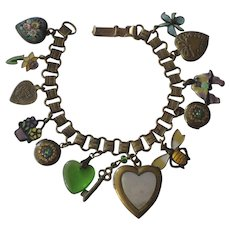 Vintage Charm Bracelet-Hearts, FAP Fabbrica Angelo Pessar Mosaic Heart, Enamel, MOP, Rhinestones