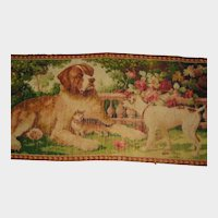 1918 Axminster Wool Rug with St. Bernard, Dog, Cat & Roses