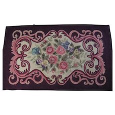 1940's Hand Hooked Rug with Flowers Designed by Mrs. Harry King